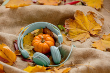Pumpkin And Leaves With Headphones On Rumpled Sackcloth