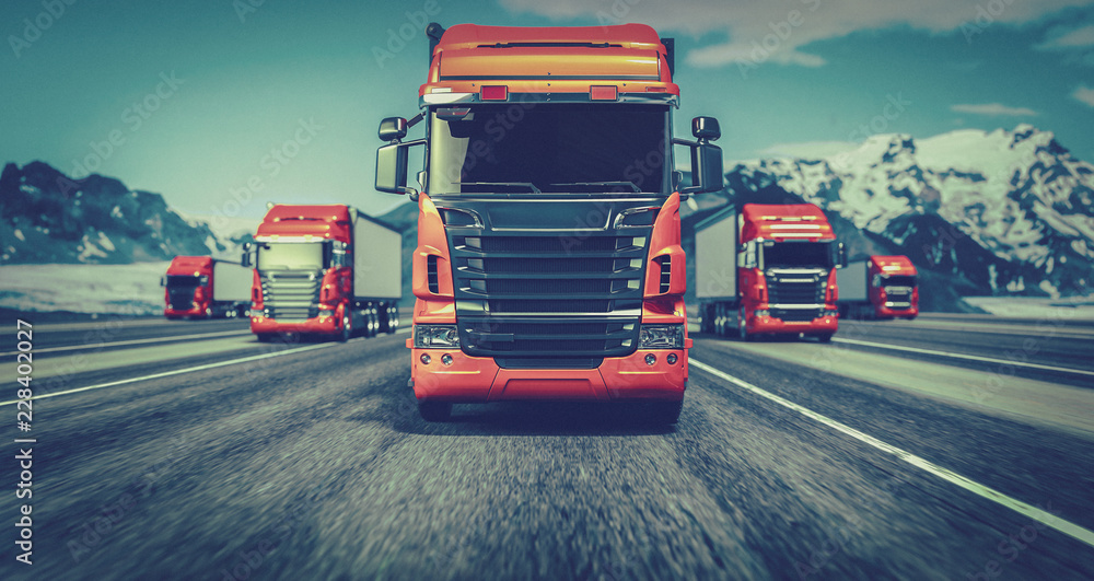 Fototapety, obrazy: The truck running on the road speed. . 3d rendering and illustration.