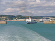 The ferry leaves for a cruise from the port of Dover on a sunny day.