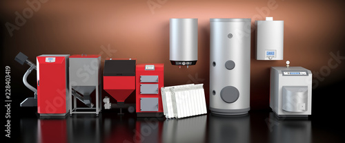Fototapeta Heating system collection, red version obraz