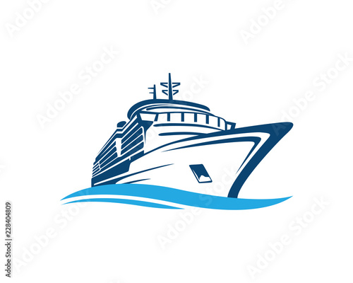 Fotografering Vector Blue Traveling with Cruise Ship and Wave in the Ocean Sea Sign Symbol Ico