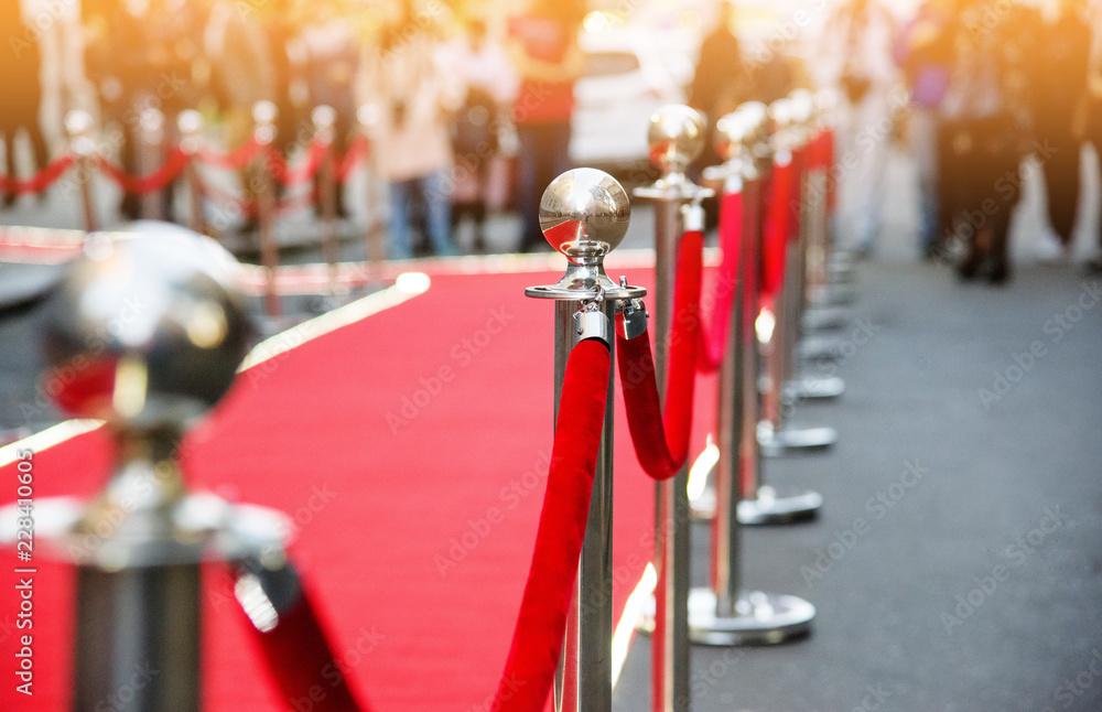 Fototapeta red carpet and barrier on entrance