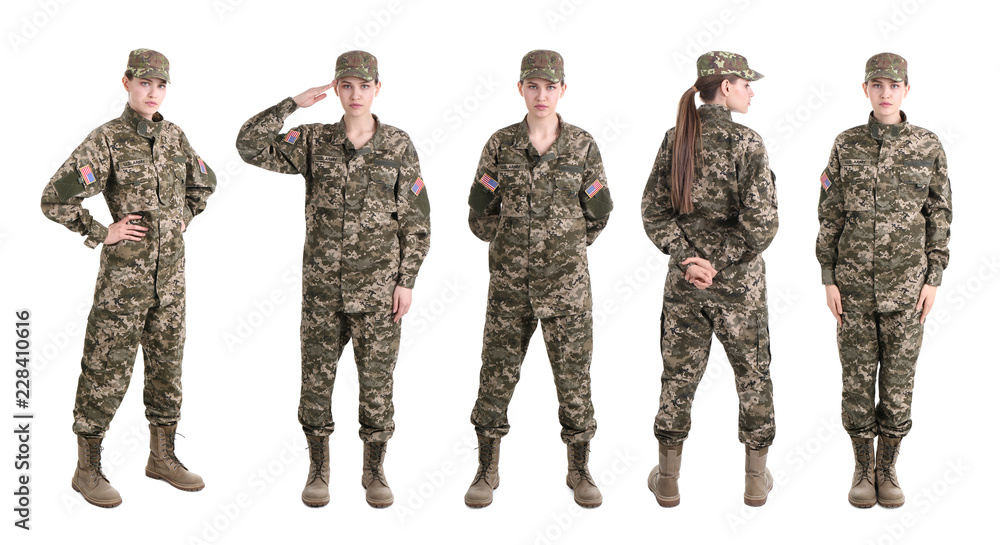 Fototapeta Set with female soldier on white background. Military service