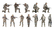 Set With Male Soldier On White Background. Military Service