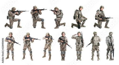 Fotografiet Set with male soldier on white background. Military service
