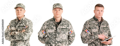 Fotografia Set with male soldier on white background. Military service