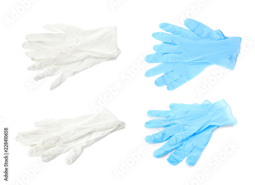 Fotografie, Obraz Set with protective gloves on white background. Medical objects