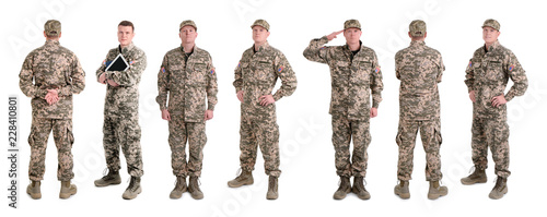 Fotografie, Obraz  Set with male soldier on white background. Military service