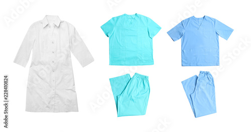 Fotomural Set with medical uniforms on white background