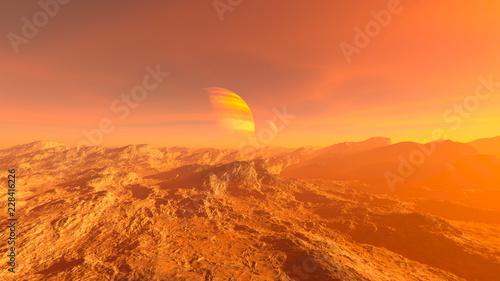 Foto auf AluDibond Koralle 夕暮れの荒野