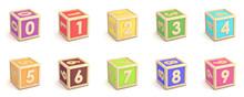 Number Collection Wooden Alphabet Blocks Font 3D