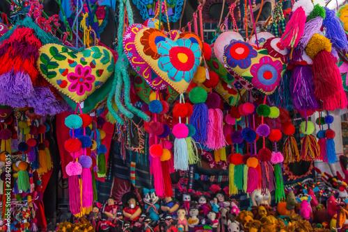 Vászonkép corazones de lana mexicanos