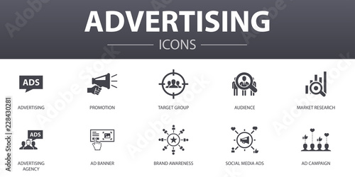 Fotografie, Obraz  advertising simple concept icons set