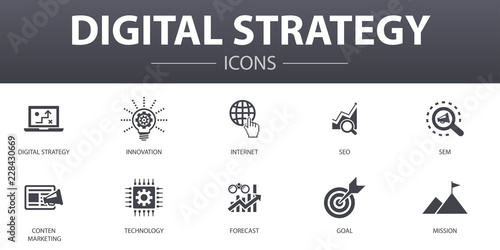 Fotografía  digital strategy simple concept icons set