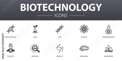 Fotomural Biotechnology simple concept icons set