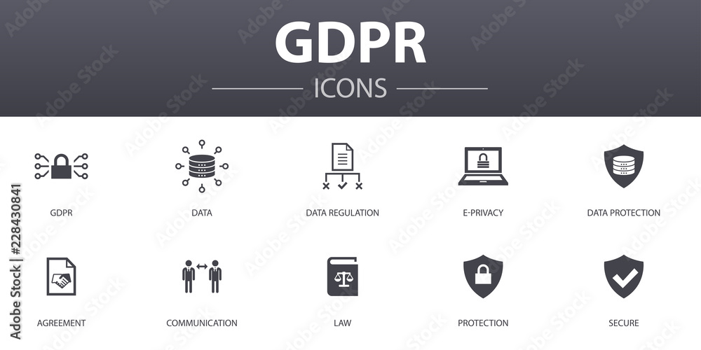 Fototapeta GDPR simple concept icons set. Contains such icons as data, e-Privacy, agreement, protection and more, can be used for web, logo, UI/UX