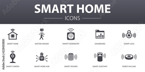 Smart home simple concept icons set  Contains such icons as motion
