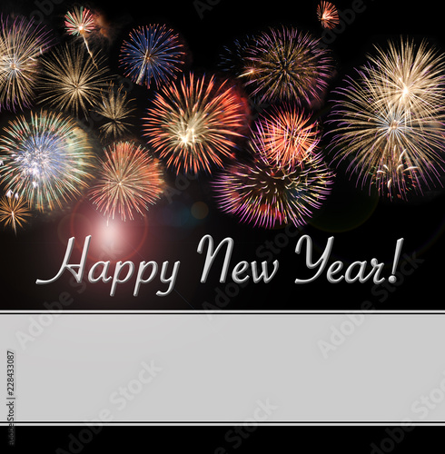 happy new year card and banner with beautiful flashy fireworks with plenty of area for additional
