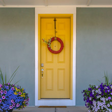 Front Door With Wreath And Col...