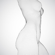 Female Nude Body On A White Background In Sexual Poses. Dance. 3d Vector
