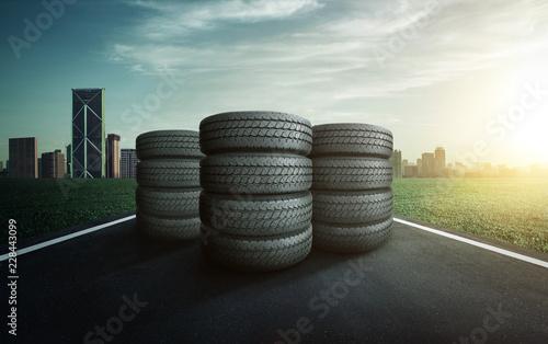 Photo sur Toile Amsterdam Car tires pile on a city road