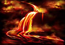 Flow Of Hot Fluid Lava, Clouds...