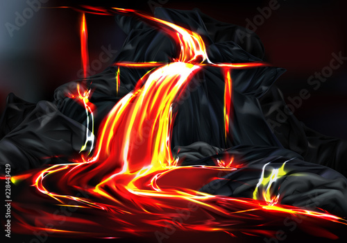 Photo River and fountains of hot lava flowing from mountain rocks during volcano eruption realistic vector illustration