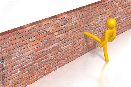 Fotografiet  3D brick wall - kicking