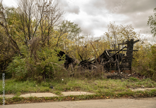 home has been destroyed by arsonists Wallpaper Mural