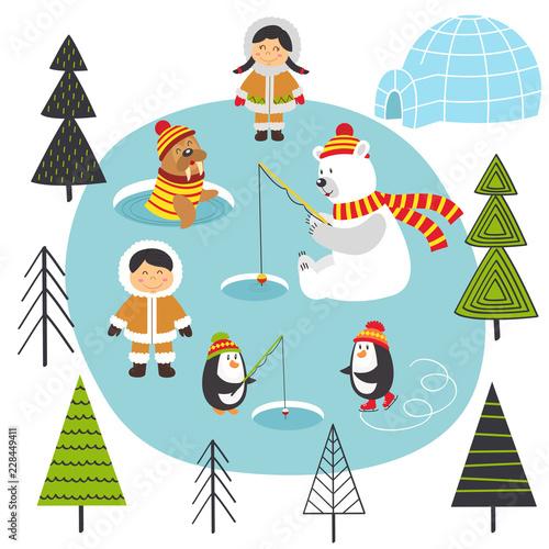 Eskimos and arctic animals on North  - vector illustration, eps Canvas Print