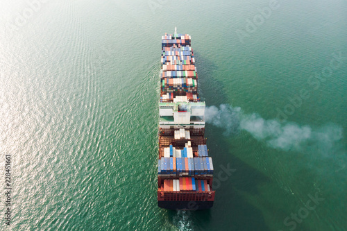 Aerial view of sea freight, Cargo ship, Cargo container in