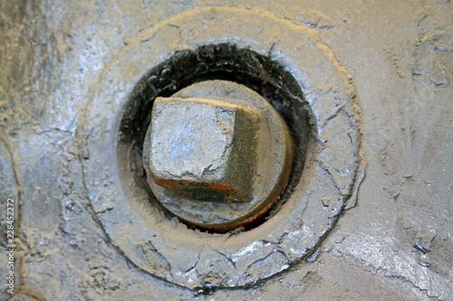 Valokuva  Square cast iron valve control
