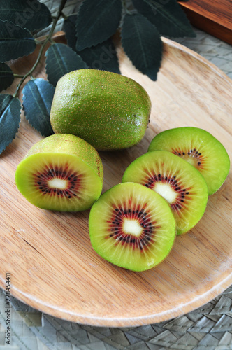 Top view of Red Kiiwfruit on Plate