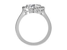 Diamonds Wedding White Gold Ring. On White , 3D Illustration.