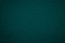 Texture Of Old Dark Green Paper Background, Closeup. Structure Of Dense Deep Bluish Cardboard.
