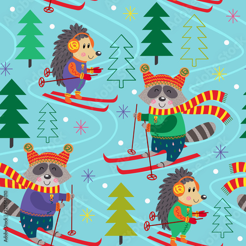 Hibou seamless pattern winter fun with animals on ski - vector illustration, eps