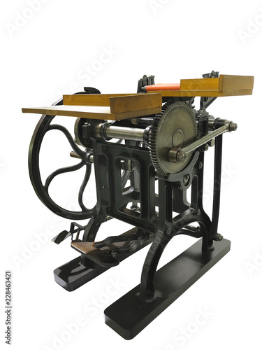 Photo  Vintage old letterpress printing manual machine isolated on white background