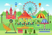 Amusement Park With Carousels, Roller Coaster And Air Balloons. Comic Circus, Fun Fair. Cartoon Carnival Theme Landscape Vector Illustration.