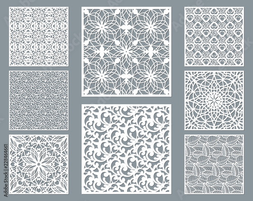 Fényképezés  Laser cut decorative panel set with lace pattern, square ornamental templates collection for die cutting or wood carving, element for wedding invitation card