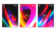 Abstract Vivid Colorful A4 Posters Set. Trendy Fluid Gradient