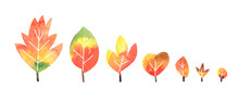 Watercolor Autumn Leaves Collection On White Background With Clipping Path