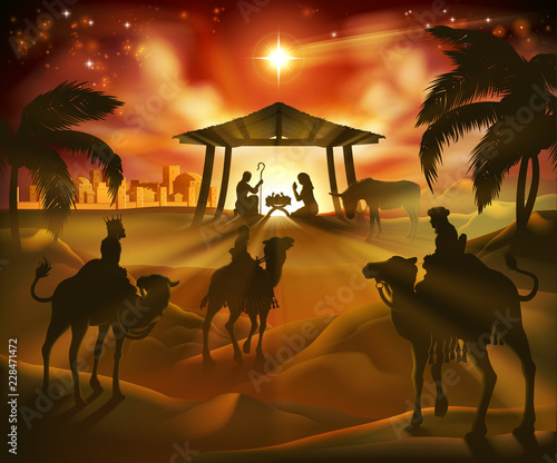 Christmas Stable Background.Christmas Nativity Scene Baby Jesus Mary And Joseph In