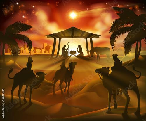 Christmas nativity scene, baby Jesus, Mary and Joseph in manger Canvas Print