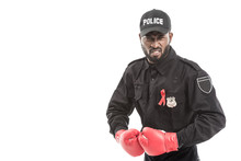 Angry African American Police Officer With Boxing Gloves Isolated On White, Fighting Aids Concept