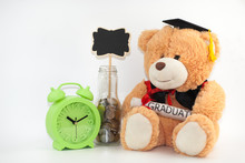 Teddy Bear With Graduation Attire On White Background.education Concept