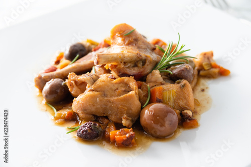 Fototapeta Delicious Rabbit Stew With Vegetables Recipe