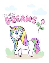 Postcard Happy Unicorn. Sweet ...