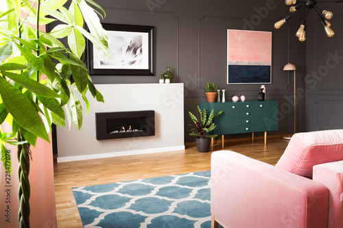 Fotografiet  Green plants in a hipster living room interior with molding on dark walls and a pink sofa in front of a burning fireplace