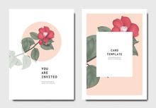 Botanical Invitation Card Template Design, Red Japanese Camellia Flowers And Leaves On Pink And White Background, Minimalist Vintage Style