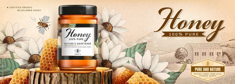 Fototapety, obrazy: Natural honey skin care banner
